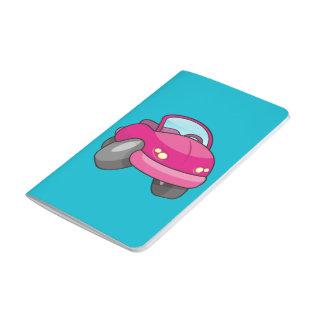 Coche rosado del dibujo animado cuadernos grapados