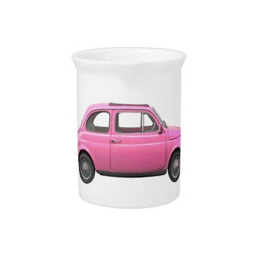 Coche rosado del italiano del vintage de Fiat 500 Jarrón