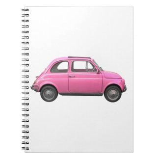 Coche rosado del italiano del vintage de Fiat 500 Libro De Apuntes