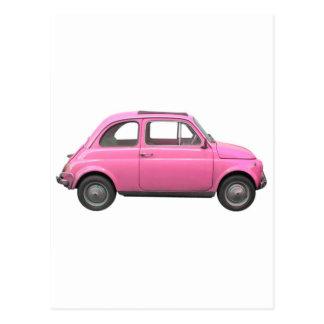 Coche rosado del italiano del vintage de Fiat 500 Postales