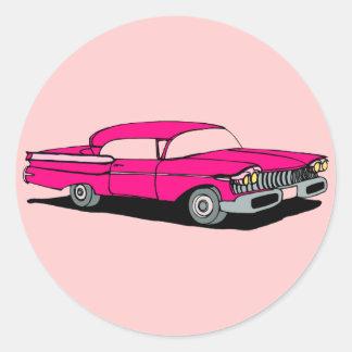 Coche rosado pegatina redonda