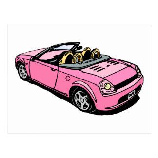 Coche rosado postales