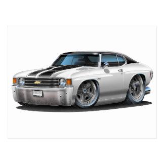Coche superior Blanco-Negro 1971-72 de Chevelle Postal