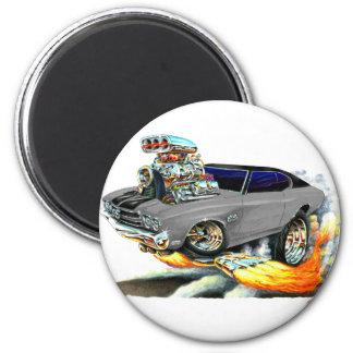 Coche superior Gris-Negro 1970 de Chevelle Imán Redondo 5 Cm