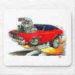 Coche superior Rojo-Negro 1970 de Chevelle Tapete De Raton