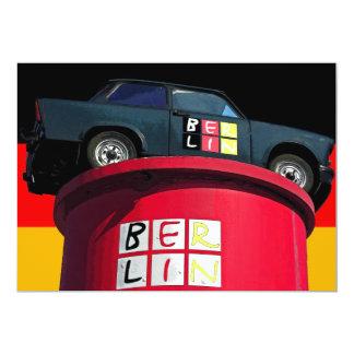 """Coche trabante, bandera alemana, logotipo de invitación 5"""" x 7"""""""