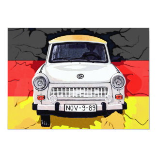 """Coche trabante y bandera alemana, muro de Berlín Invitación 5"""" X 7"""""""
