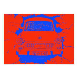 """Coche trabante y muro de Berlín rojo/azul Invitación 5"""" X 7"""""""