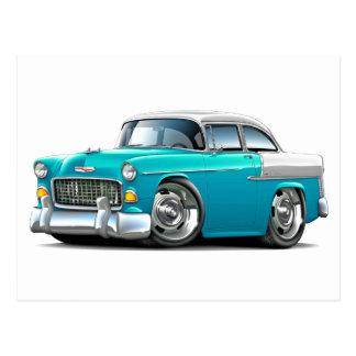 Coche Turquesa-Blanco 1955 de Chevy Belair Postal