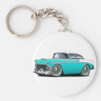 Coche Turquesa-Blanco 1956 de Chevy Belair Llavero Redondo Tipo Pin