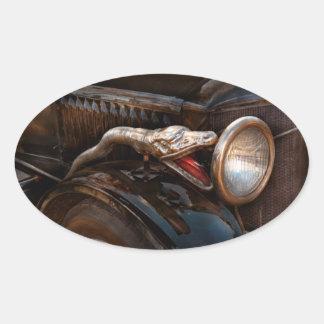 Coche - vapor - encantador de serpiente pegatina ovalada