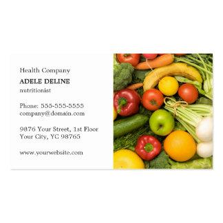 Coche vegetal elegante clásico del nutricionista tarjetas de visita