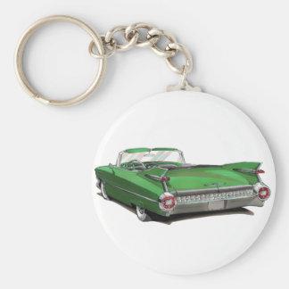 Coche verde 1959 de Cadillac Llavero Redondo Tipo Pin