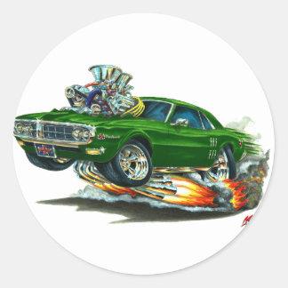 Coche verde 1967-68 de Firebird Pegatinas Redondas