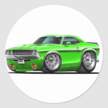 Coche verde 1970-72 del desafiador etiquetas redondas