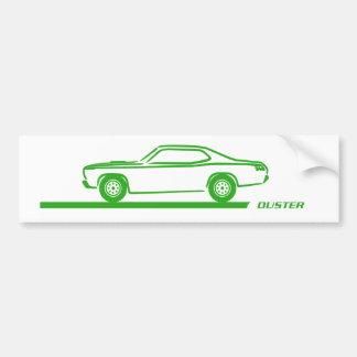 Coche verde 1970-74 del plumero etiqueta de parachoque