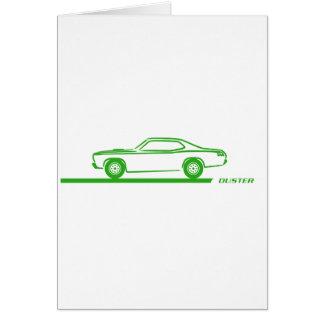 Coche verde 1970-74 del plumero tarjeta de felicitación