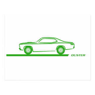 Coche verde 1970-74 del plumero postales