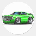 Coche verde 1970 de Plymouth Cuda Pegatina Redonda