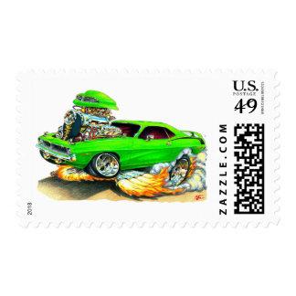 Coche verde 1970 de Plymouth Cuda Sellos