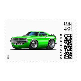 Coche verde 1970 de Plymouth Cuda Franqueo