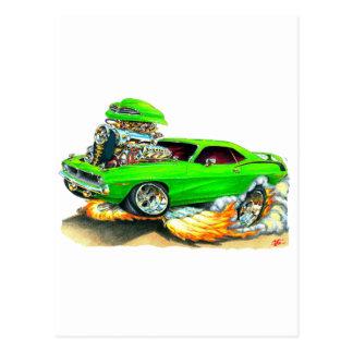 Coche verde 1970 de Plymouth Cuda Postal