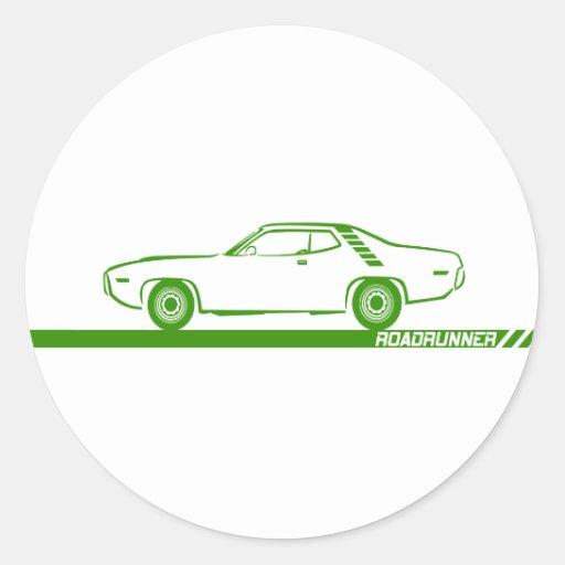 Coche verde 1971-72 del Roadrunner Pegatina Redonda