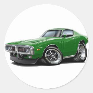 Coche verde 1973-74 del cargador pegatinas redondas