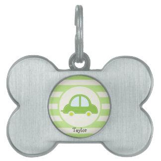 Coche verde claro del juguete placa mascota