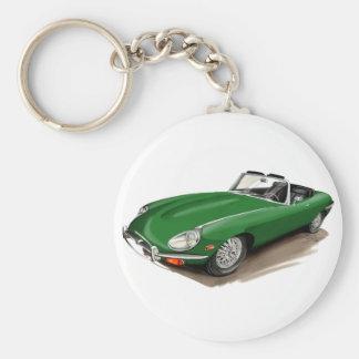Coche verde de Jaguar XKE Llavero Redondo Tipo Pin