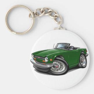 Coche verde de Triumph TR6 Llavero Redondo Tipo Pin