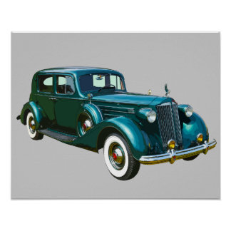 Coche verde del lujo de Packard Posters