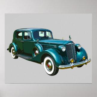 Coche verde del lujo de Packard Póster