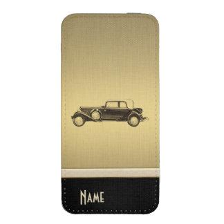 Coche viejo de la mirada de oro de lujo elegante funda acolchada para iPhone