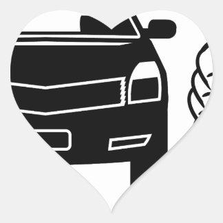 Coche y tarjeta disponibles pegatina en forma de corazón