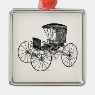 Cochecillo antiguo traído por caballo del carro de adorno cuadrado plateado