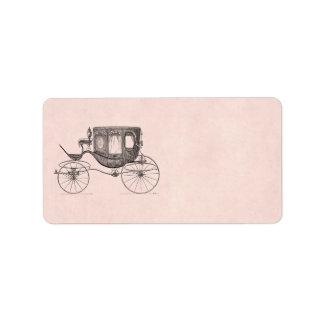 Cochecillo antiguo traído por caballo del carro de etiqueta de dirección