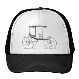 Cochecillo antiguo traído por caballo del carro de gorras de camionero