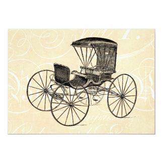 Cochecillo antiguo traído por caballo del carro de invitación 12,7 x 17,8 cm