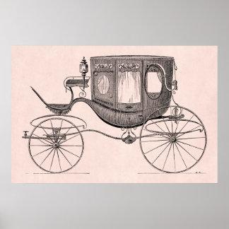 Cochecillo antiguo traído por caballo del carro de poster