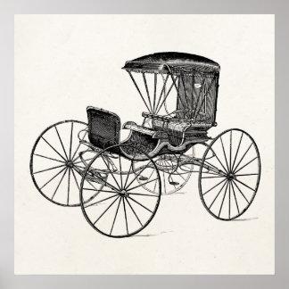 Cochecillo antiguo traído por caballo del carro de póster
