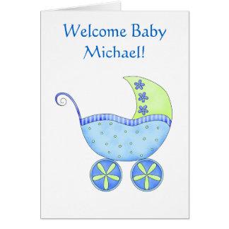 Cochecillo azul personalizado nombre agradable del tarjeta de felicitación