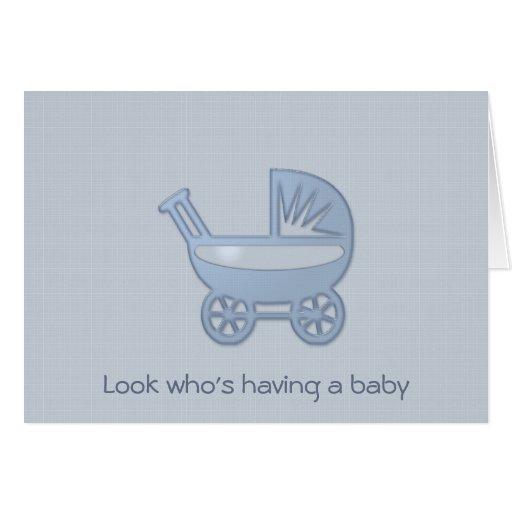 cochecillo de bebé azul felicitación