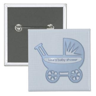 cochecillo de bebé azul pin cuadrado