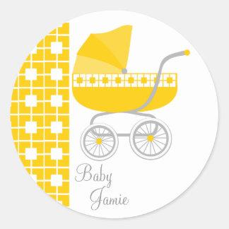 Cochecillo de bebé de oro etiqueta redonda