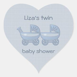cochecillo de bebé gemelo azul pegatinas de corazon personalizadas