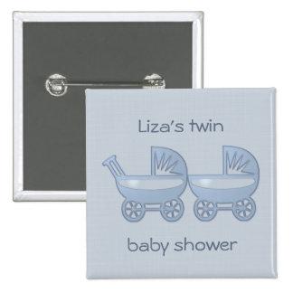 cochecillo de bebé gemelo azul pin cuadrado