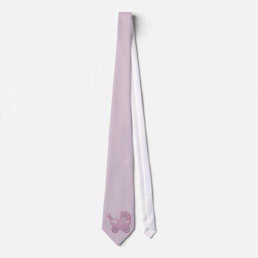cochecillo de bebé rosado corbata personalizada
