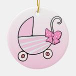 Cochecillo de bebé rosado de la niña ornamentos de navidad