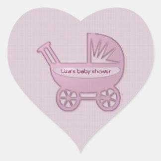 cochecillo de bebé rosado pegatina en forma de corazón